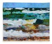 Waves Crash - Painting Version Fleece Blanket