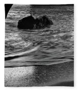 Waves From The Cave In Monochrome Fleece Blanket