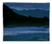 Waves In The Pacific Ocean, Waimea Bay Fleece Blanket