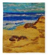 Waves On A Rocky Beach Fleece Blanket