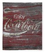 Weathered Coca Cola Sign Fleece Blanket