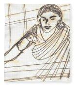 Weaver Working At Her Weaving Machine Fleece Blanket