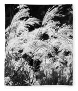 Weed Grass Black And White Fleece Blanket