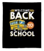 Welcome Back To School Kids School Bus Fleece Blanket