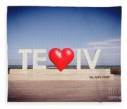 Welcome To Tel Aviv Port Fleece Blanket