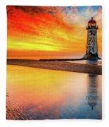Welsh Lighthouse Sunset Fleece Blanket