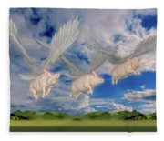 When Pigs Fly Fleece Blanket