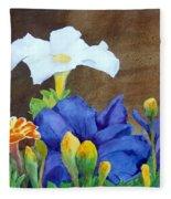 White And Purple Petunia And Marigolds Fleece Blanket