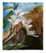 White Flower With Abstract Background Fleece Blanket