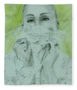 White Lace And Green Eyes Fleece Blanket