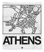 White Map Of Athens Fleece Blanket