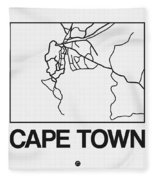White Map Of Cape Town Fleece Blanket
