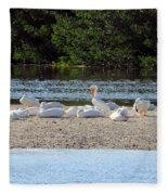 White Pelican Rest Fleece Blanket