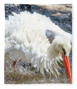 White Stork Fishing Fleece Blanket