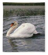 White Swan On Lake Fleece Blanket