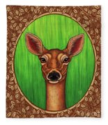 White Tailed Doe Portrait - Brown Border Fleece Blanket by Amy E Fraser