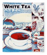 White Tea In Blue And White Fleece Blanket