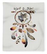 Wild And Free Wolf Spirit Dreamcatcher Fleece Blanket