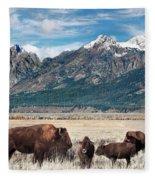 Wild Bison On The Open Range Fleece Blanket