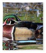 Wild Wood Duck On The Old Mill Pond  Fleece Blanket