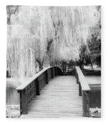 Willow Tree Over The Bridge Fleece Blanket