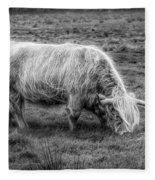 Windblown In Scotland Black And White Fleece Blanket