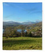 Windermere With Loughrigg Fell And The Langdales From Ambleside Fleece Blanket