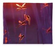 Winged Wonders - Dragonflies At Sunset Fleece Blanket