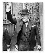 Winston Churchill Showing The V Sign Fleece Blanket