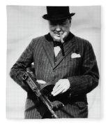 Winston Churchill With Tommy Gun Fleece Blanket
