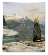 Winter At The Sognefjord - Digital Remastered Edition Fleece Blanket
