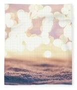 Winter Background With Snow And Fairy Lights. Fleece Blanket