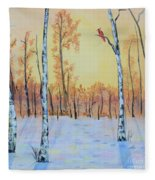 Winter Birches-cardinal Right Fleece Blanket