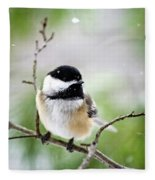 Winter Black Capped Chickadee Fleece Blanket
