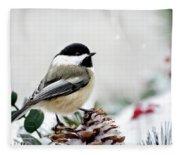 Winter Chickadee Fleece Blanket