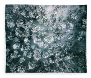 Winter Forest - Aerial Photography Fleece Blanket