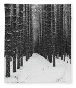 Winter Forest In Black And White Fleece Blanket