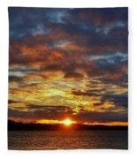 Winter Sunset Over Grand Island Fleece Blanket