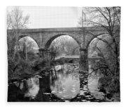 Wissahickon Creek - Reading Viaduct In Black And White Fleece Blanket