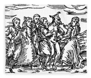 Witches Dancing With The Devil, Illustration From Compendium Maleficarum Fleece Blanket