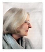 Woman In Grey Fleece Blanket