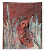 Woman In Reeds Fleece Blanket