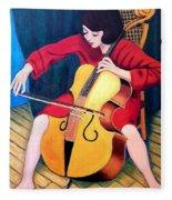 Woman Playing Cello - Bereny Robert Study Fleece Blanket