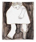 Woman With A Wooden Leg Drawing Fleece Blanket