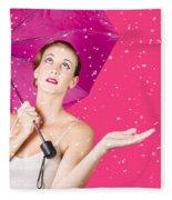 Woman With Umbrella Fleece Blanket