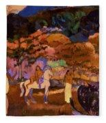 Women And White Horse 1903 Fleece Blanket