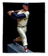 Wood Carving - Ted Williams 001 Black Background Fleece Blanket