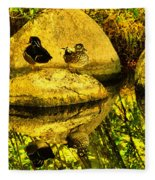Wood Duck Pair And Their Reflection Fleece Blanket