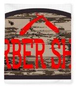 Worn Barber Shop Wooden Store Sign Fleece Blanket