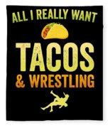 Wrestling All I Want Taco Silhouette Gift Light Fleece Blanket